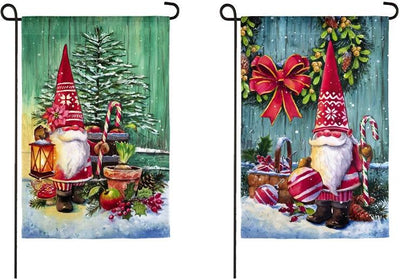 Christmas Gnomes Double-sided Suede Reflections Garden Flag