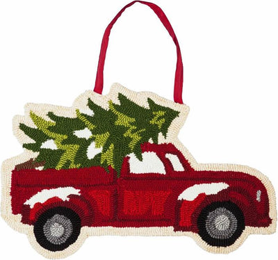 Christmas Tree Truck Hooked Decorative Door Hanger