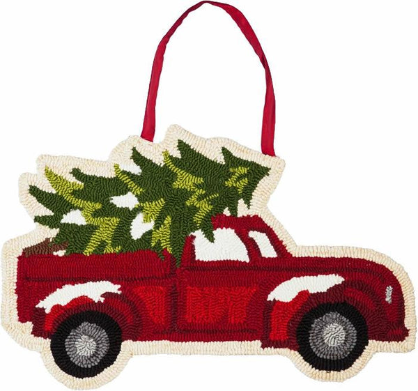 Christmas Tree Truck Hooked Decorative Door Hanger - I AmEricas Flags