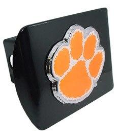 Clemson University Orange Paw Print Black Hitch Cover