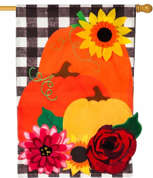 Colorful Pumpkins and Plaid Applique House Flag