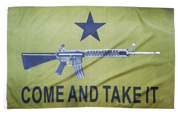 Come and Take it M4 Rifle Olive Drab 3x5 Flag - I AmEricas Flags
