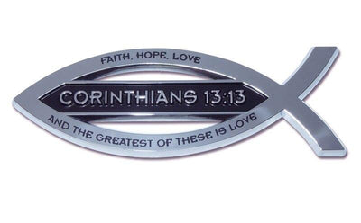 Christian Fish Chrome Car Emblem Corinthians 13:13