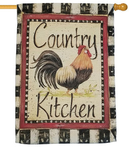 Country Kitchen Rooster Sublimated House Flag