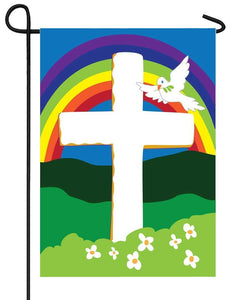 Cross Rainbow and Dove Double Applique Garden Flag - I AmEricas Flags