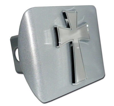 Cross Tapered Brushed Chrome Hitch Cover