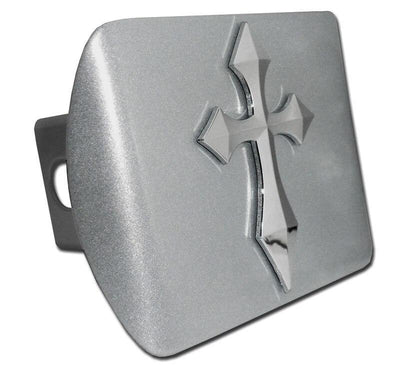 Cross Pointed Brushed Chrome Hitch Cover