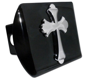 Cross Scalloped Black Chrome Hitch Cover