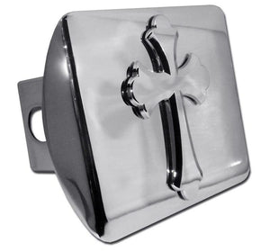 Cross Scalloped Shiny Chrome Hitch Cover