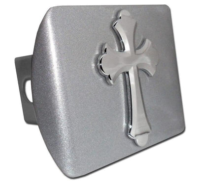Cross Scalloped Brushed Chrome Hitch Cover