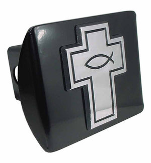 Cross with Christian Fish Black Hitch Cover