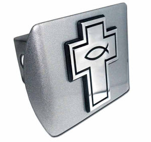 Cross with Christian Fish Brushed Chrome Hitch Cover