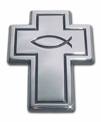 Cross with Fish Chrome Car Emblem