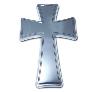 Cross Tapered Chrome Car Emblem