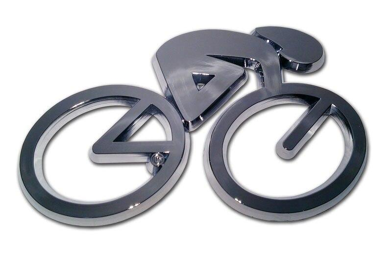 Cycling Chrome Car Emblem