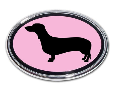 Dachshund Pink and Chrome Car Emblem