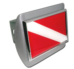 Dive Flag Brushed Chrome Hitch Cover