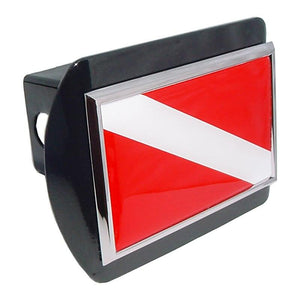 Dive Flag Black Hitch Cover - Chrome Car Emblems | Trailer Hitch Covers/Flag and State Symbol Emblems - I AmEricas Flags