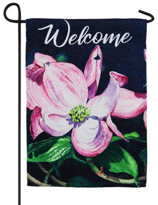 Dogwood Blossoms Textured Suede Reflections Garden Flag