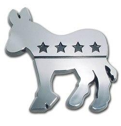 Democratic Donkey Chrome Car Emblem