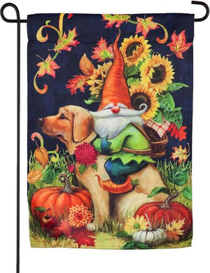 Fall Harvest Gnome Suede Reflections Garden Flag