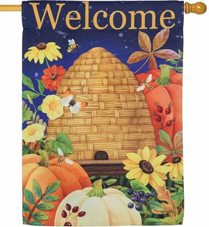 Fall Welcome Beehive Suede Reflections House Flag