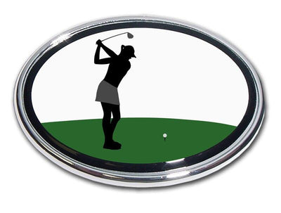 Golfer Backswing Female Chrome Car Emblem