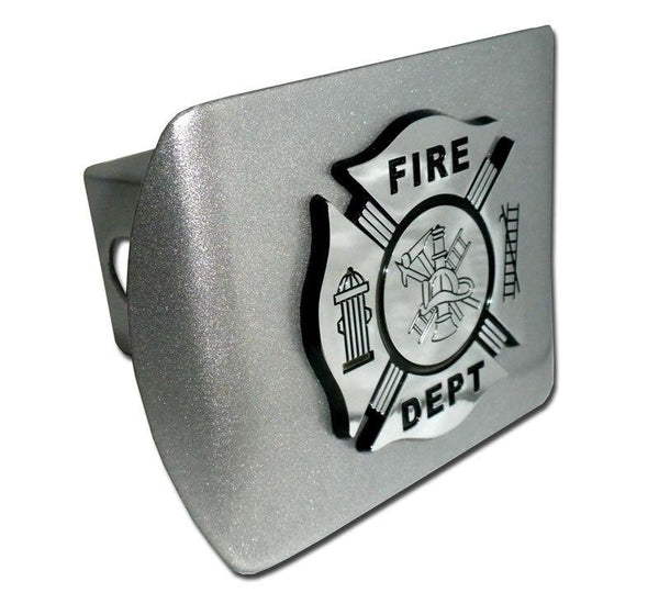 Firefighter Black and Chrome Maltese Cross Brushed Chrome Hitch Cover
