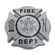 Firefighter Black and Chrome Maltese Cross Car Emblem