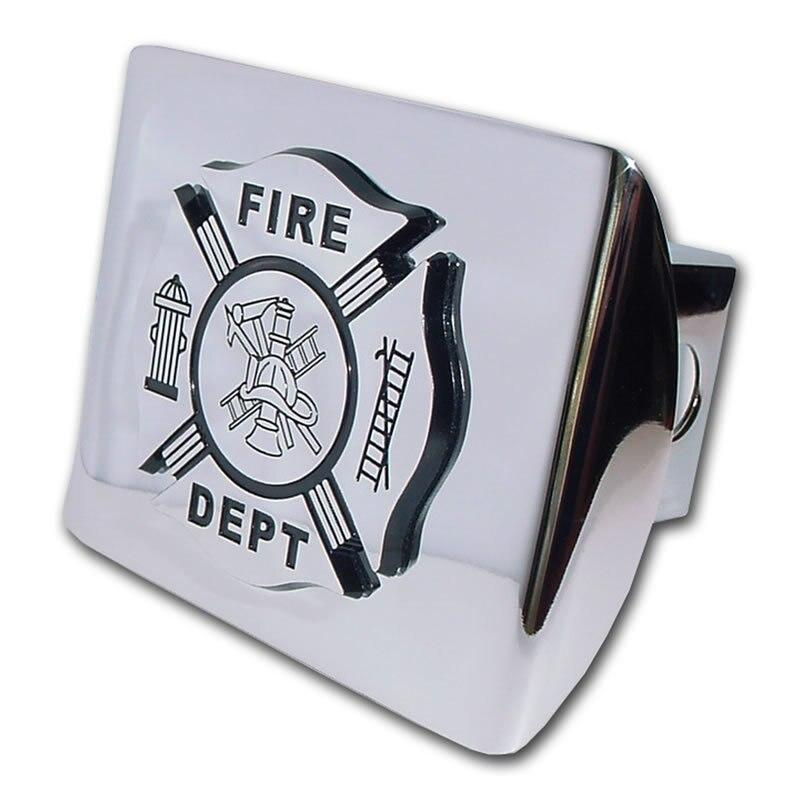 Firefighter Black and Chrome Maltese Hitch Cover