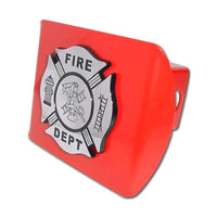 Firefighter Chrome and Black Maltese Cross Red Hitch Cover - Chrome Car Emblems | Trailer Hitch Covers/Firefighter Police EMS Emblems - I AmEricas Flags