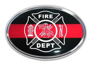 Firefighter Oval Chrome with Color Car Emblem