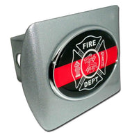 Firefighter Oval Brushed Chrome Hitch Cover