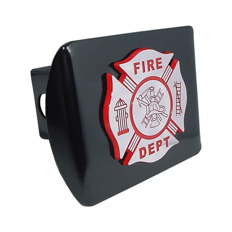 Firefighter Chrome and Red Maltese Cross Black Hitch Cover