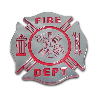 Firefighter Red and Chrome Maltese Cross Car Emblem