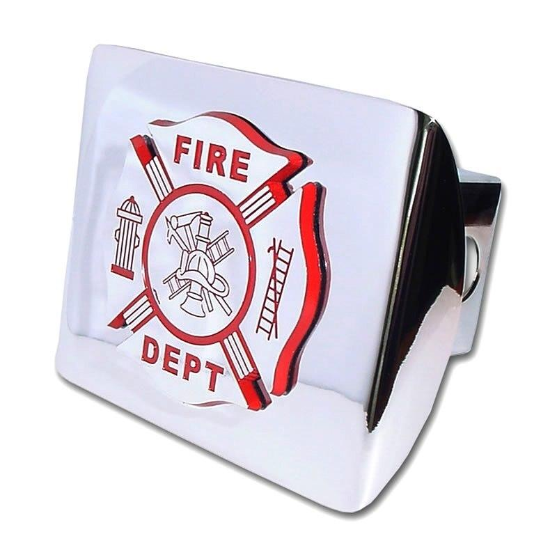 Firefighter Red and Chrome Maltese Cross Hitch Cover
