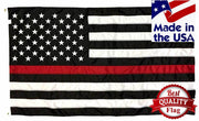 Firefighter Thin Red Line Black and White American Flag 3x5 Sewn Nylon