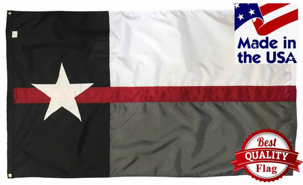 Firefighter Thin Red Line Black and White Texas Flag 3x5 Sewn Nylon
