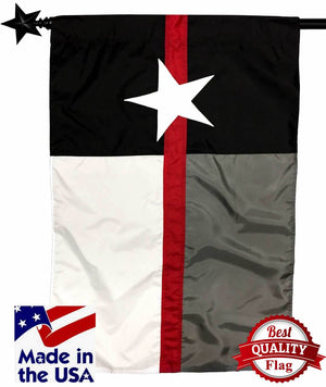 Firefighter Thin Red Line Black and White Texas Sewn Nylon House Flag