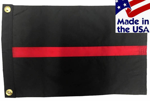 Firefighter Thin Red Line Sewn Nylon 12x18 Boat Flag