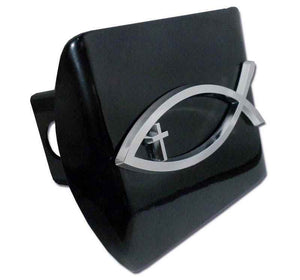 Christian Fish Cross Black Hitch Cover