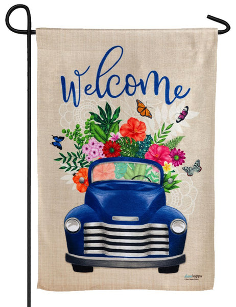 Flower Delivery Truck Textured Suede Reflections Garden Flag