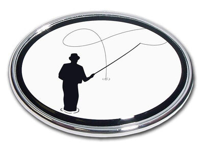 Flyfishing Chrome Car Emblem