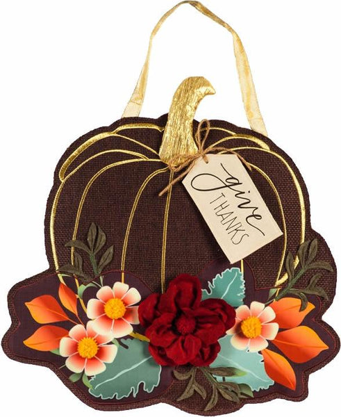 Give Thanks Floral Pumpkin Decorative Door Hanger - I AmEricas Flags