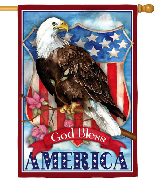 God Bless America Eagle Suede Reflections House Flag NEWPRODUCT - I AmEricas Flags