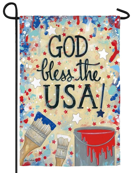 God Bless the USA Drop Cloth Suede Reflections Garden Flag