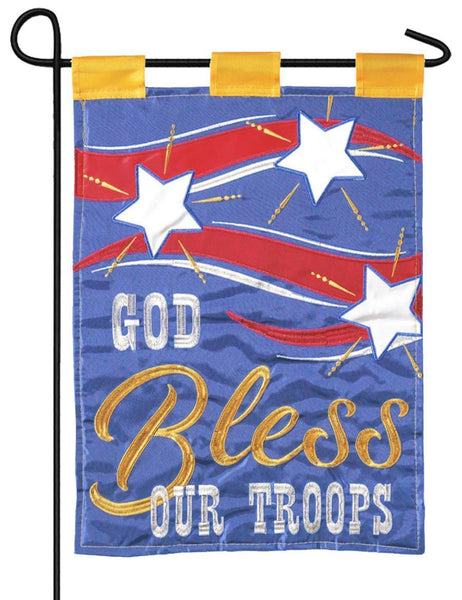 God Bless Troops Double Applique Garden Flag - I AmEricas Flags