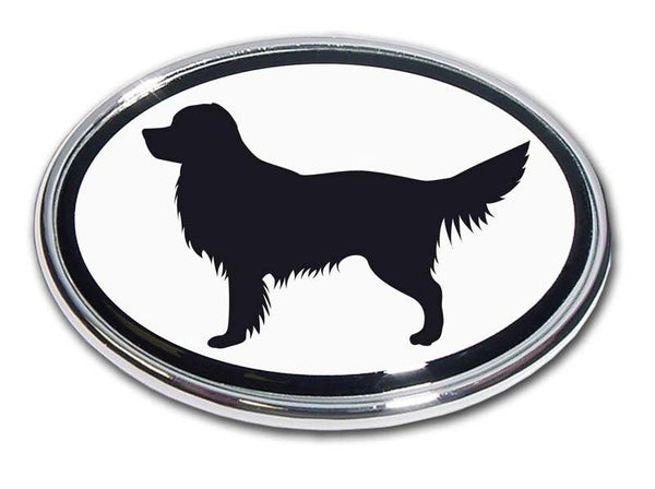 Golden Retriever Chrome Car Emblem
