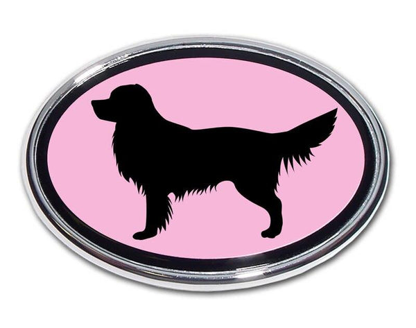 Golden Retriever Pink and Chrome Car Embelm