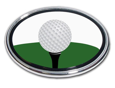 Golf Ball Tee Chrome Car Emblem